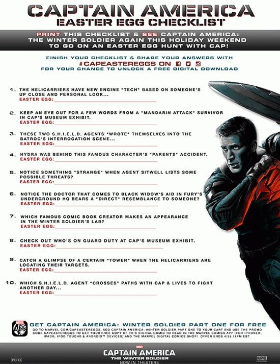 Captain America: The Winter Soldier Easter Egg Checklist