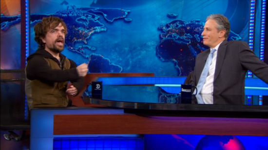 Peter Dinklage and Jon Stewart