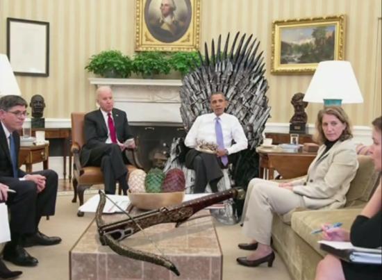 President Obama on the Iron Throne